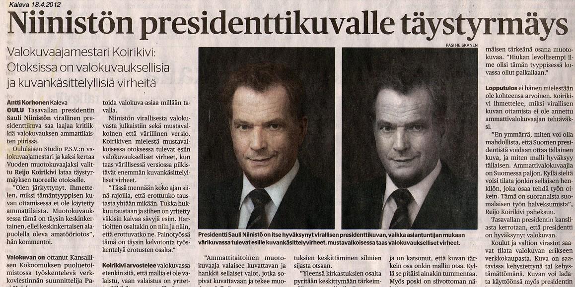 presidentin kuva - juttu kalevassa
